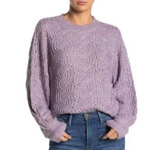 Lush Womens Marled Cable Knit Pullover Sweater